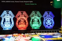 NYPD Nassau and Suffolk Police Sergeant Badge Gift Light - Color Changing Desk Light - Select Design or request your own Best Police Gift
