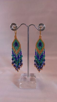 Hand Beaded Peacock Earrings. $40.00, via Etsy.