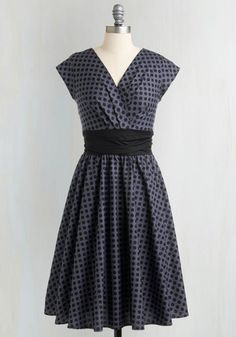 Pretty on the Park Bench Dress in Dots - Grey, Black, Polka Dots, Pleats, Cap Sleeves, 50s, Cotton, Pinup, Woven, Best Seller, Work, Full-Size Run, Variation, Long, Fit & Flare