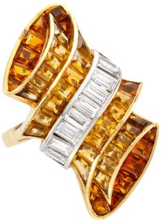 Rene Boivin, A Gold, Platinum, Citrine and Diamond Ring circa 1935 Art Deco Ring, Art Deco Jewelry, I Love Jewelry, Jewelry Rings, Vintage Jewelry, Fine Jewelry, Jewelry Design, Jewelry Accessories, Diamond Rings