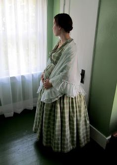 Romantic History: 1860's Sheer Summer Shawl. Sarah is the cutest pregnant lady I have seen in costume! (I haven't seen many, but she is pretty adorable.)
