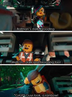 So i saw the Lego Movie and this part reminds me of all of 5SOS trying to be punk rock but going outside a minute before show time to take a selfie with a rainbow