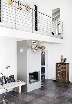 Stylish and modern fire place that is almost invisible in the living room.
