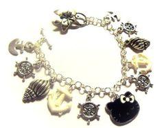 SALE Jet Black Hello Kitty Nautical Charm Bracelet