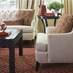 Coffee and end tables are carved/fancy. The sofa legs match color so woods are not busy. Because the star is the wild red rug and then the red accents throughout. Color Tips from Designer Mary Douglas Drysdale Classic Living Room, Classic House, Interior Decorating, Interior Design, Decorating Ideas, Decor Ideas, Coffee And End Tables, Sofa Legs, Red Rugs