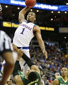 Wayne Seldon, Kansas Basketball, huge Dunk over Baylor on Friday 3/11/16 at the KC Sprint Center, Big 12 Tournament Semi-final win over Baylor. (prior to the KU Championship 81-71 win over West Virginia the following day).