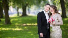 Brudpar, bröllop, park, utomhus, Karlstad
