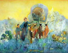 Minerva Teichert's Not Alone. Mary Fielding Smith and her son Joseph Fielding Smith entering the Salt Lake Valley accompanied by heavenly hosts. This one hangs in the foyer of my church building.
