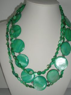 Green mother of pearl  triple strand necklace with  by yasmi65, $30.00