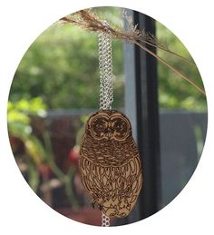 Image of Owl necklace Wooden Owl, Owl Necklace, Bird Feeders, Christmas Ornaments, Unique Jewelry, Holiday Decor, Handmade Gifts, Outdoor Decor, Necklaces