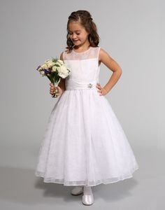 This stunning dress by Sweetie Pie Collection has beautiful snowflake embroidery on the bodice and skirt. The bodice has an illusion neckline with a satin linin. Designer Flower Girl Dresses, Cute Flower Girl Dresses, Satin Tulle, Organza Dress, Dresses For Less, Christening Gowns, Stunning Dresses, White Girls, Holiday Dresses