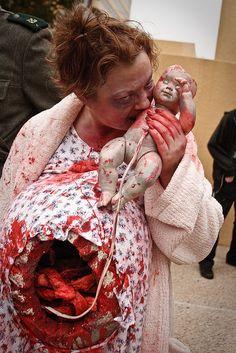 Pregnant zombie costume... disturbing yet very creative!
