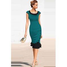 USD13.99Cheap British Fashion O Neck Short Sleeves Retro Flouncing Hem Design Green Sheath Knee Length Bodycon Dress