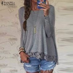 2016 Spring ZANZEA Women Blusas Casual Loose Elegant T Shirt Long Sleeve Shirt Lace Crochet Embroidery Hem Female Tops Plus Size //Price: $15.74 & FREE Shipping //     #hairextension #style #beauty #woman #love