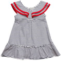 DARCY BROWN: Girls Navy Blue & White Stripe Dress with Ruffle Collar - Dresses - Girl | Childrensalon