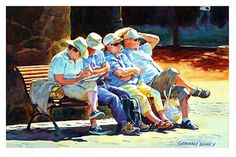 """Four across by Graham Berry Watercolor ~ 12"""" x 20"""""""
