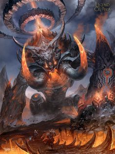This is an illustration for a TCG called 《Legend of the Cryptids》 by Applibot. AS the heroes keep running, the colossus turned into full rage mode. It's body started to breath fire as...