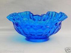 "Fenton Glass Thumbprint Colonial Blue Double Crimped 8"" Glass Bowl c. 1964-1973"