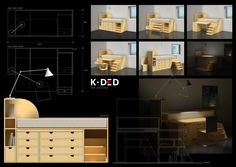 concept for a desk and bed storage combination Bed Storage, Locker Storage, Design Projects, Lockers, Desk Bed, Cabinet, How To Plan, Cool Stuff, Building