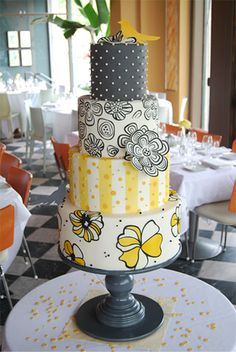 Stacy and Andy's wedding cake, inspired by graphic fabrics that they used to back their invitations. Love these prints together!