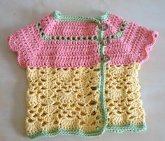 Sweet Cardi for Baby - pattern found on http://www.ravelry.com/patterns/library/short-sleeved-baby-cardigan