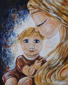 In Your Eyes - blonde mom blue eyed child print by Katie m. Berggren