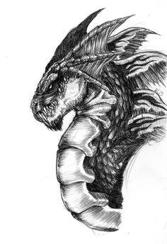 Cabeza de un Dragón dibujado a lápiz