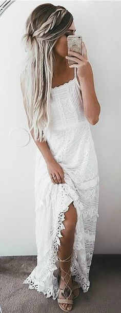 summer outfits White Lace Maxi Dress