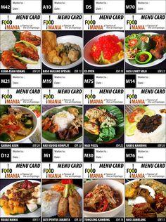 menu card makanan indonesia
