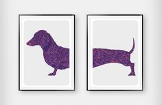 Dachshund Duo Art Purple Haze. Exclusive, limited edition designs. Printed to gallery quality. An excellent gift for the home or a loved one. Comes both framed and unframed