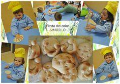 """Esta semana en muchas de nuestras escuelas hemos trabajado el color amarillo con """"La Fiesta del color AMARILLO"""" y por ejemplo en Kidsco Luna Centro Bahía Cádiz han transformado la Escuela en una gran Panadería and Bakery Yellow.  Los más pequeños convertidos en panaderos y pasteleros, han elaborado pan, pasteles, cupcakes y una tarta gigante…"""