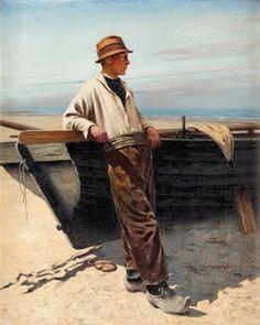 """Fiskare vid havet"" -- by August Vilhelm Nikolaus Hagborg (Swedish, 1852–1921)"