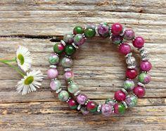 Kunzite Gemstone & Tibetan Bead Bracelet Set, Unique Gift, Birthday, Christmas by TJBsimplebeauty on Etsy