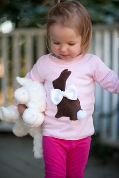 Girls Infant to Toddler Easter Bunny Cotton Tail Shirt by izzysgma
