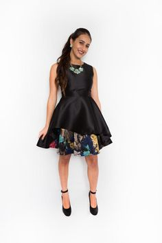 Black Fit and Flare Dress with Brushed Print $42.99