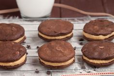 Fudgy Chocolate Peanut Butter Sandwich Cookies - Chew Out Loud