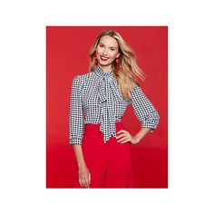 7th Avenue Gingham Print Bow Blouse ($29) ❤ liked on Polyvore featuring tops, blouses, black, gingham top, key hole top, new york company tops, keyhole top and bow blouses