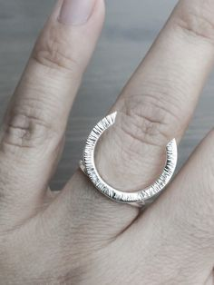 Horseshoe Ring. Minimalist Silver Ring. Large Horseshoe Handcrafted Ring. Unisex Ring. Modern Ring. Ready to Ship. Free Domestic and Worldwide Shipping  Let the luck be with you throughout your day.