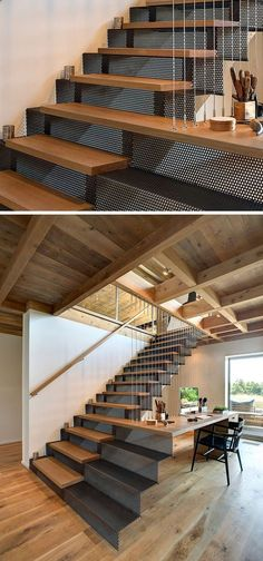 18 Examples Of Stair Details To Inspire You // These wood and perforated steel stairs extend out to create a space for a home office.