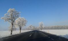 Winter road in Poland