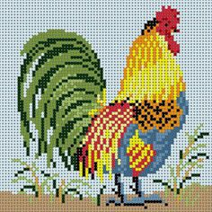 Rooster 1 Chicken Cross Stitch, Cross Stitch Sea, Cross Stitch Borders, Cross Stitch Designs, Cross Stitching, Cross Stitch Embroidery, Cross Stitch Patterns, Retro Crafts, Chicken Crafts