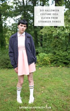DIY Stranger Things Halloween Costume Idea for Women and Girls - Eleven (El) complete with all the elements you need to get this look for any Halloween party!