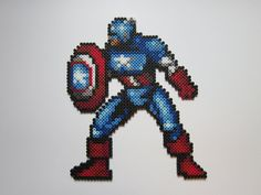 Captain America perler bead sprite by 8-BitBeadsStudio on deviantART