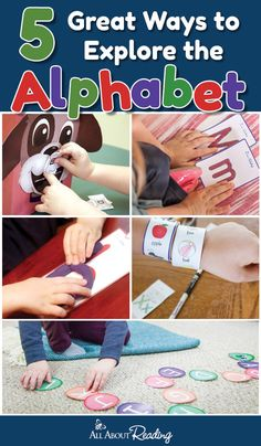 Need some great ideas to teach the alphabet? Here are five hands-on ways to explore the alphabet through play! Great for preschool and kindergarten. Alphabet Activities, Preschool Activities, Preschool Alphabet, Toddler Alphabet, Literacy Centers, Preschool Teachers, Alphabet Crafts, Preschool Education, Ideas