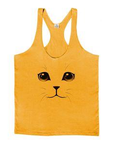 TooLoud Yellow Amber-Eyed Cute Cat Face Mens String Tank Top