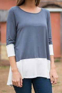 3/4 Sleeve Color Block Long T-Shirt
