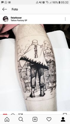 Anime Tatoo, Manga Tattoo, Naruto Tattoo, I Tattoo, Creative Tattoos, Unique Tattoos, Cool Tattoos, Tatoos, Tatuagem Trash Polka