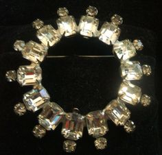 Vintage Weiss Large Clear Emerald Cut Glass Wreath Circle Pin Brooch #Weiss