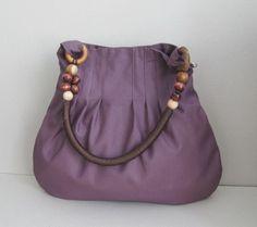 Sale - Plum Canvas Bag With Rope Beads Strap, shoulder bag, handbag, tote, purse, unique, durable on Etsy, $39.00