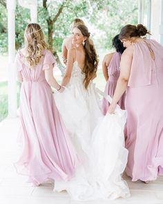 Lovely shades of lavender for the perfect spring or summer bridal party! | #lavenderbridesmaids #purplebridesmaiddresses #lavenderbridesmaiddresses | Style F20065, F19773 in Lavender Haze | Shop these styles and more at davidsbridal.com | Photo by: @rootedtrumpetphotography Lavender Bridesmaid Dresses, Wedding Dresses, Purple Table Decorations, Davids Bridal, Shades, Spring, Pretty, Summer, Shop